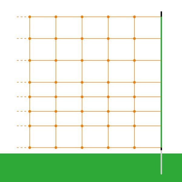 50m Euro-Schafnetz PROFI, 90cm, 1 Spitze, orange, Elektronetz zur Schafhaltung