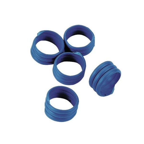 20x Spiralringe Ø 16mm, Blau, Fußringe, Markierungsringe für Hühner und Puten