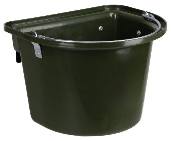 Futterkrippe 12 Liter, Grün, mit Aufhängehaken und Henkel, Futtertrog für Transporter und Turniere