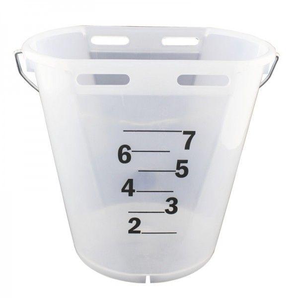 GEWA Kälbereimer 8 Liter, TRANSPARENT, mit Eimerhalterung, Tränkeeimer für Kälber