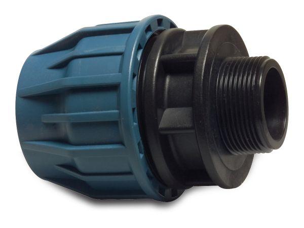 PP Klemmkupplung, mit Außengewinde, 1 1/4 Zoll x 40mm, PP-Kupplung