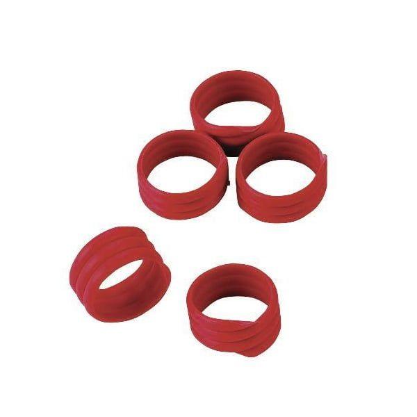 20x Spiralringe Ø 16mm, Rot, Fußringe, Markierungsringe für Hühner und Puten