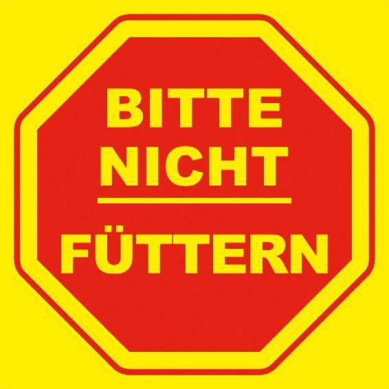 Hinweisschild: Bitte nicht füttern, gelb, 200x200mm, Verbotschild