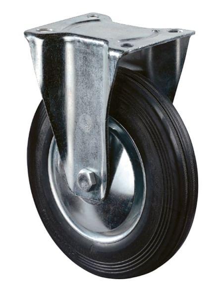 Bockrolle Ø100mm, Gummi schwarz, 70 kg, Transportrolle mit Stahlfelge und Rollenlager