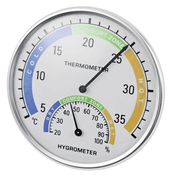 Thermometer-Hygrometer Ø125mm, zur Anzeige der Temperatur und Luftfeuchtigkeit