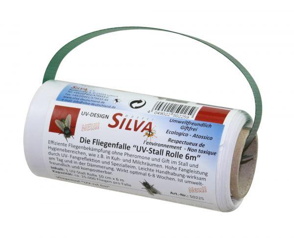 SILVA® Fliegenfalle UV-STALL ROLLE 10cm x 6m, Stallfliegenfänger zur Fliegenbekämpfung im Stall