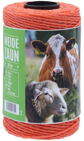 Weidezaunlitze JUMBO 200m, 3 x 0,20 Niro-Leiter, orange, für kurze bis mittlere Einzäunungen
