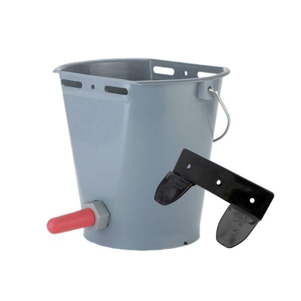 GEWA Kälbereimer 8 Liter, GRAU, mit Eimerhalterung, Tränkeeimer für Kälber mit Sauger und Ventil