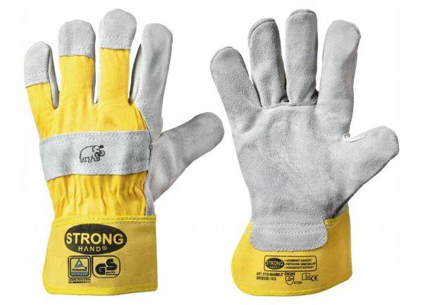 Stronghand® Arbeitshandschuhe MAMMUT Größe 8 (M), Rindspaltleder-Handschuhe mit Stulpe