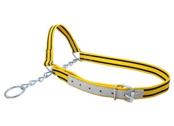 Kuhhalfter Nylon, 40mm, gelb, mit Kinnkette, Halfter für Rinder und Kühe