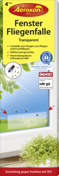 Aeroxon® 4x Fenster-Fliegenfalle Transparent, Fliegenfalle für Fenster, Leimfalle, Klebefalle