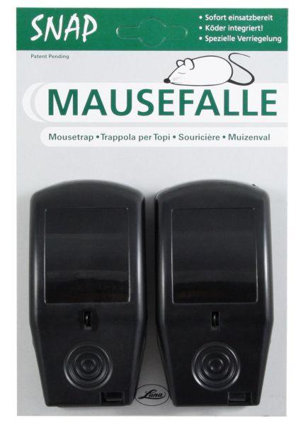 2x Luna® Mausefalle SNAP mit Naturköder, hygienische und wiederverwendbare Mausefalle
