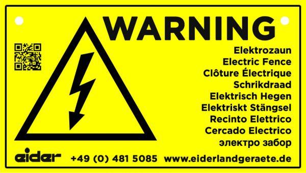 Warnschild International: Vorsicht Elektrozaun, gelb, 225x130mm, Hinweisschild