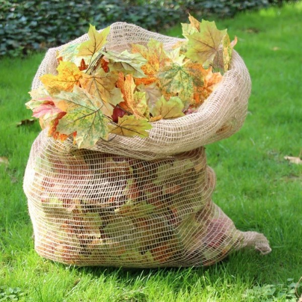 3x Noor® Laubsack Jute, 70x100cm, kompostierbar, Gartensack, Abfallsack, Jutesack
